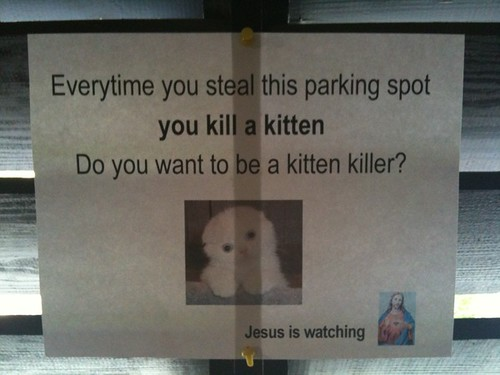 Everytime you steal this parking spot you kill a kitten Do you want to be a kitten killer? Jesus is watching