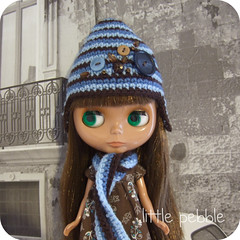 Handmade Gnome Hat and Scarf Set (blue)