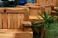 Wooden garden furniture (Jaime Carter) Tags: wood newzealand art garden bench 50mm wooden chair dof market bokeh furniture seat craft f18 pirongia waipa jaimewalsh pirongiaannualcraftfair