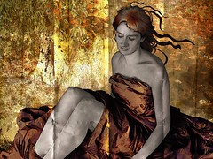 running Circle Before The Automn Comes (vinciane.c) Tags: red woman brown tree nature beauty leaves photomanipulation photoshop gold pattern arms legs skin head artnouveau automn fabric photomontage