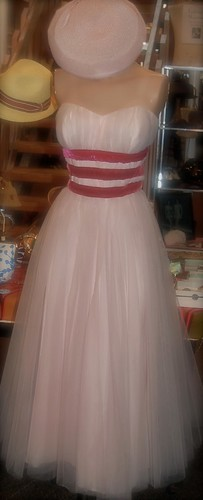 1950's Chiffon Gown w. Velvet Rugby Stripes