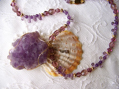 Lilac Amethyst necklace. (Gigi Gems Creations - Venice Beach Multi Designer) Tags: amethyst wirewrapped drusy naturalstonenecklacependantamethyst
