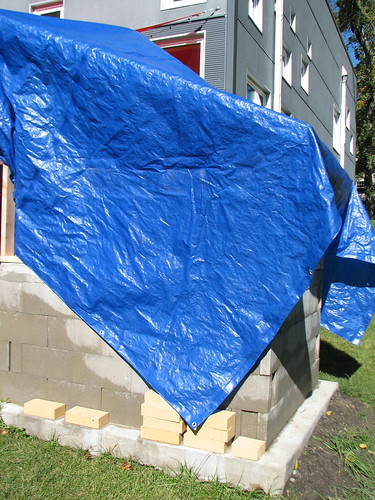 oven under the big blue tarp
