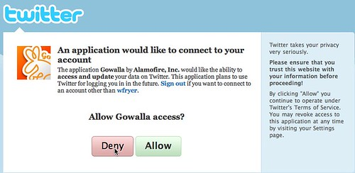 Allow Gowalla access to my Twitter? I don't think so...