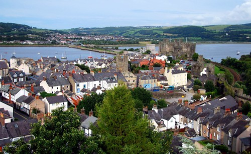 view of conwy from atop the old city walls