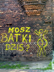 Mosz batki dzis? // have you panties today? (stempel*) Tags: brick wall graffiti pants panty poland polska polen mur katowice polonia silesia slask śląsk schlesien majtki cegla nikiszowiec batki giesche gambezia