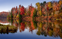 Autumn Evening (crabsandbeer (Kevin Moore)) Tags: autumn lake reflection fall nature water beauty leaves landscape evening dusk pennsylvania foliage pa goldenhour rickettsglen photopainting lakejean