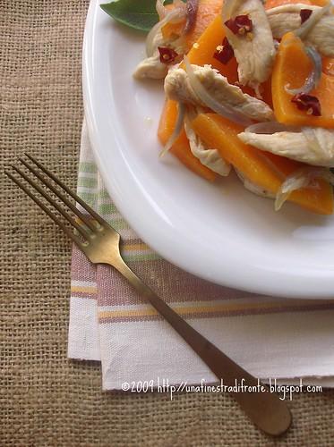 Pollo con zucca, cipolla e salvia