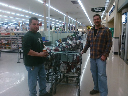 Annual turkey drive - Nick and Rob buyin' the birds