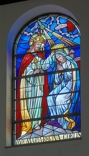 "Saint Mary Roman Catholic Church, in Trenton, Illinois, USA - stained glass window ""Ave Maria Regina Coelis"""