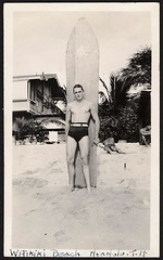 1950s surfer surfboard man waikiki beach belted swim trunks briefs speedo (Christian Montone) Tags: shirtless blackandwhite man men surfer briefs 1950s surfboard speedo swimtrunks vintagephoto underwearandswimwear