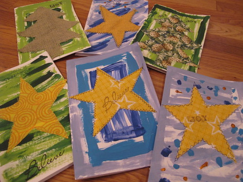 Close-up of the acrylic and sewn cards.