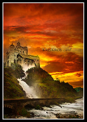 castle red (Kris Kros) Tags: new bridge red sky orange cloud castle art collage digital photoshop river point happy golden is waterfall twilight artwork flickr king princess magic year touch prince manipulation rules fair medieval queen explore fantasy sword kris and knight thats feeling bloody magical soe kk enchanted kkg boiling discrimination 2010 valor cs4 sorcery favoritism kros kriskros my not bloodyred abigfave kktouch kkgallery