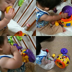 知育玩具で遊ぶ。とはいえ舐めるだけ。 (6/19)