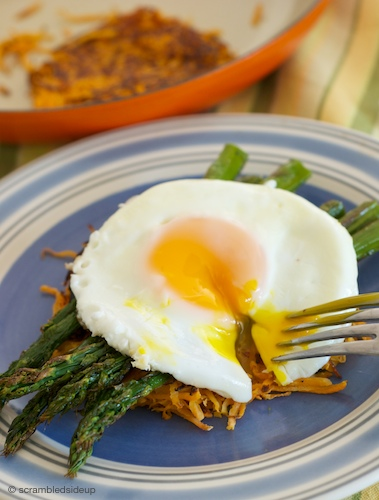 Sunny Side Up Egg on Sweet Potato Hash and Roasted Asparagus