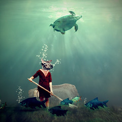 the little gardener (Martine Roch) Tags: ocean sea pet animal digital square fishing fisherman underwater dive tortoise surreal diving fantasy catfish photomontage tortue gardener manray bbbles petitechose martineroch