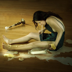 swallow (brookeshaden) Tags: broken lamp milk trapped spit banana apron swallow spill housewife slave notaselfie brookeshaden