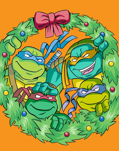 """""""Teenage Mutant Ninja Turtles"""" Holiday Coloring Book by Bendon Publishing / Coloralot Books  { 32 pg. edition }  Color cover  art by Lavigne / Brown  (( 2005 ))"""