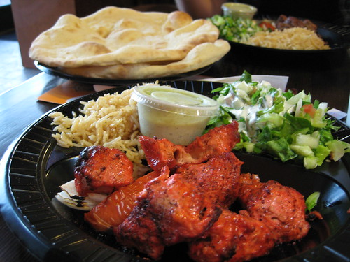 Chicken Kabob Platter at Maiwand Kabob