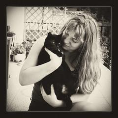 (Marutina) Tags: blackandwhite bw woman pet girl cat canon blackcat blackwhite poland ja canonefs1855 canon40d