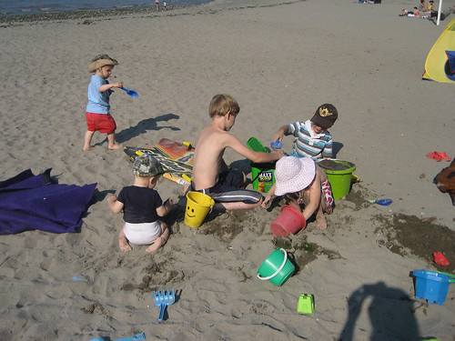 The kids making sandcastles