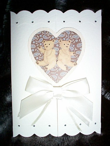 Ref: Card 2 Set 7 (Pic 1 of 2) (Available) / New Baby Twins Card with Teddy Bear design / Price £1.75 /