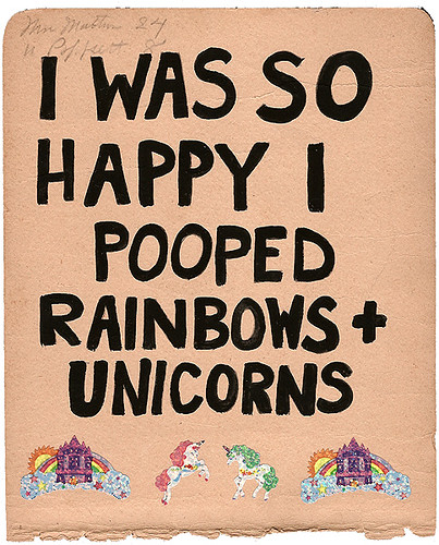 Rainbows + Unicorns, 2009. gouache, stickers on paper