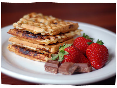 Crazy Waffles - Banana and Coconut Chocolate Waffles