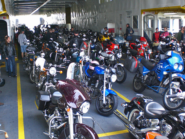 A few bikes on the ferry