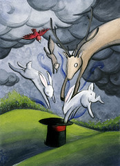 Disappearing Act (razorberries) Tags: green animals illustration dark painting jump squirrel gray deer tophat stormclouds magictrick disappear redbird whiterabbits watercolorink