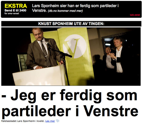 Dagbladet.no - forsiden - Lars Sponheim sier han er ferdig som partileder i venstre
