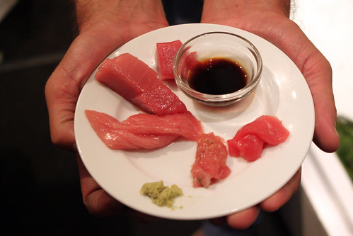 Sampling different parts of the tuna