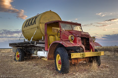 Thirst Quencher (WilliamBullimore) Tags: old sunset red sky yellow clouds truck vintage automobile wheels rusty machinery vehicle hdr tyres hdri xxxx digitalcameraclub platinumphoto atomicaward