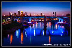 Downtown Minneapolis and I-35W Bridge, Minneapolis, MN (MR MARK | photography) Tags: longexposure bridge reflection minnesota skyline downtown mississippiriver twincities minneapolismn minneapolisskyline i35w dinkytowntrailbridge