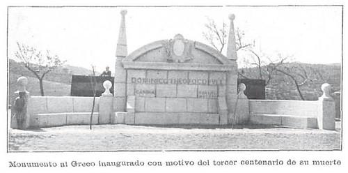 Monumento a El Greco recién colocado en 1914. Toledo. Revista La Ilustración Artística. Foto Vidal