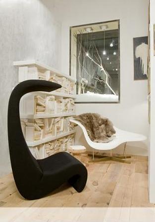 Mid-century modern: Black Panton + white Eames & Saarinen