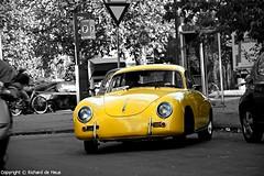 Porsche 356 A (Richard de Heus) Tags: bw classic amsterdam yellow blackwhite 1600 porsche coloring coupe selective 356 356a