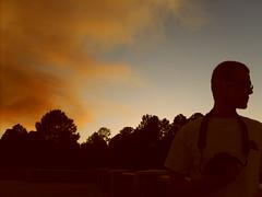 Fire Sunset (queenamyna) Tags: blue trees sunset arizona portrait orange sun boyfriend clouds contrast dark landscape fire dusk august flagstaff forestfire backround