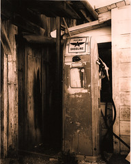 gas pump, china camp (Amanda Tomlin) Tags: diafine fujiacros autaut cambo4x5 fototspeedsepia
