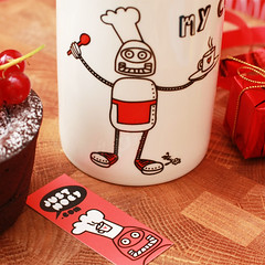Robochef is a cuppa now! (justnoey) Tags: red coffee shop robot baker catchycolours tea handmade craft moo chef mug decal coffeemug etsy teacup decals redshoes handprinted converseshoes ceramicmug myillustration moocards ceramicdecal canon450d mycuppa parularora justnoey robochef decalprinting justnoeyparularora