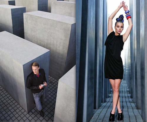The controversial photos: These were among the shots from a fashion shoot done at Peter Eisenmans Holocaust memorial in Berlin. (Courtesy New Statesman)