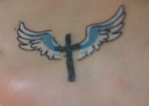 cross winged tattoo
