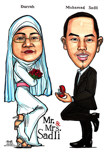 Couple wedding caricatures - Mr & Mrs Sadli A4
