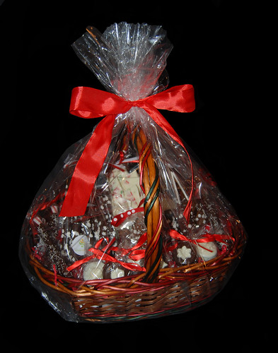 medium sized custom holiday themed gift basket filled with Simply Sweets chocolates
