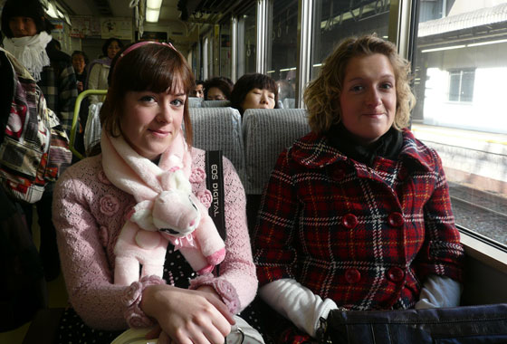 Emma and Amy on the train to Nara