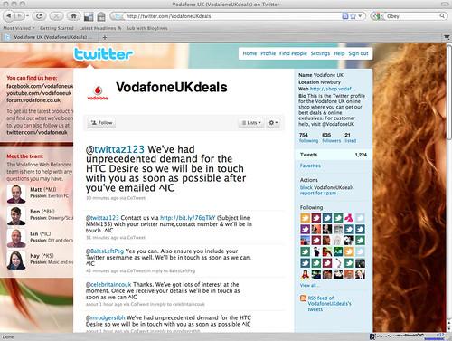 Vodafone twitter customer services