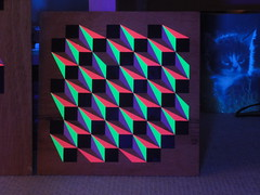 12x12 inch(UV)  Hand painted Acrylic on Ply (Carl Cashman) Tags: geometric 3d paint neon acrylic geometry painted uv shapes violet illusion carl blocks pixels ultra cashman
