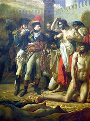 Gros, Napoleon Bonaparte Visiting the Plague-Stricken in Jaffa with detail of Napoleon
