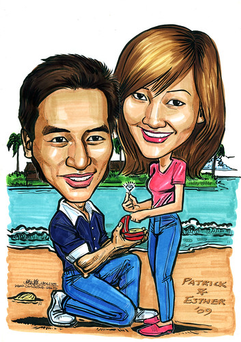 Couple caricatures proposal at Sentosa beach A4