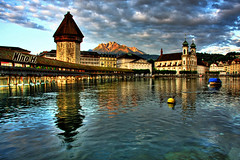 Clouds over Lucerne - Switzerland (Nino H) Tags: bridge alps tower church river switzerland suisse swiss luzern chapel pont baroque lucerne hdr jesuit kapellbrcke reuss imagepoetry mywinners theperfectphotographer
